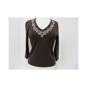 Nine West Womens 34 Sleeve Top Browns
