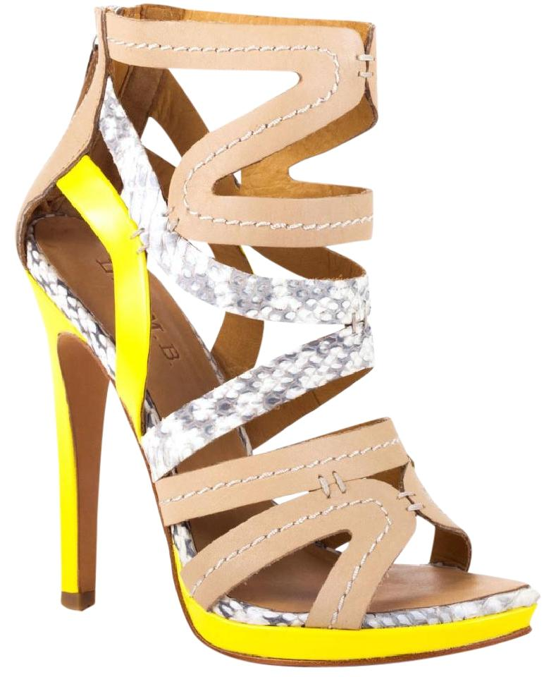 L.A.M.B. Snakeskin, Beige And Neon Yellow Sandals - Tradesy