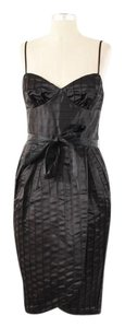 Betsey Johnson Pleated Sweetheart Belted Satin Sheath Dress