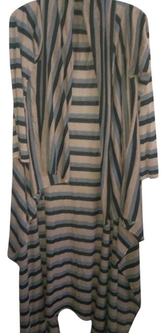 Item - Black Blue Taupe Stretchy Draping Or Cardigan Long Casual Maxi Dress Size 12 (L)