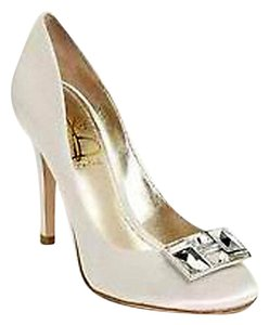 Joan & David White Satin New In Box Crystal Rectangle Jewel Pumps Size US 8.5 Regular (M, B)