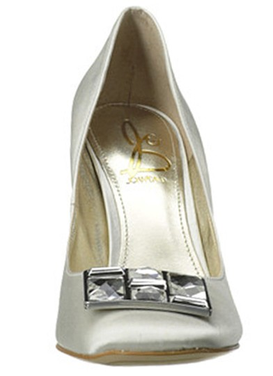 Joan & David White Satin Box New In Crystal Rectangle Jewel Pumps Size US 8.5 Regular (M, B) Image 2