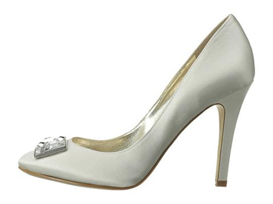 Joan & David White Satin Box New In Crystal Rectangle Jewel Pumps Size US 8.5 Regular (M, B) Image 4