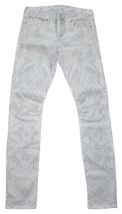 Helmut Lang White Jeans Denim Geometric Print Slim Skinny Pants White Multi-Colore