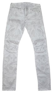 Helmut Lang Jeans Geometric Skinny Pants White Multi-Colore