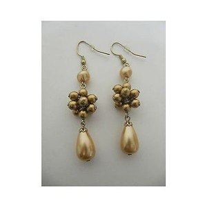 Other Womens Fashion Dangle Earrings Gold Bronze Detailing