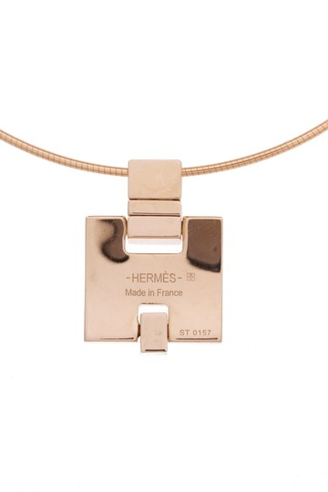 Hermès Hermes Gold-Plated & Orange Enamel Eileen Pendant Necklace