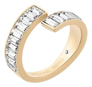 Michael Kors NWT MICHAEL KORS GOLD TONE BAGUETTE RING W DUST BAG SIZE 7 BLACK AFFAI