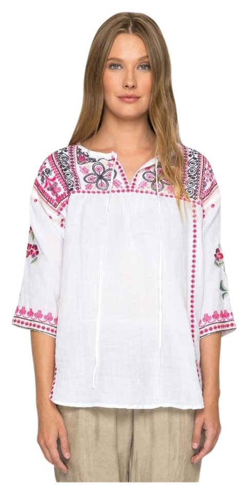 ab7aa7be5f9 Johnny Was Linen Embroidered 3/4 Sleeve V-neck Tie Tunic Image 0 ...