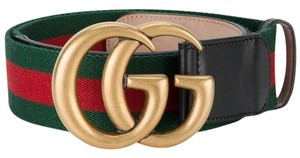 Gucci GUCCI Marmont Web belt with Double G gold buckle Size 85