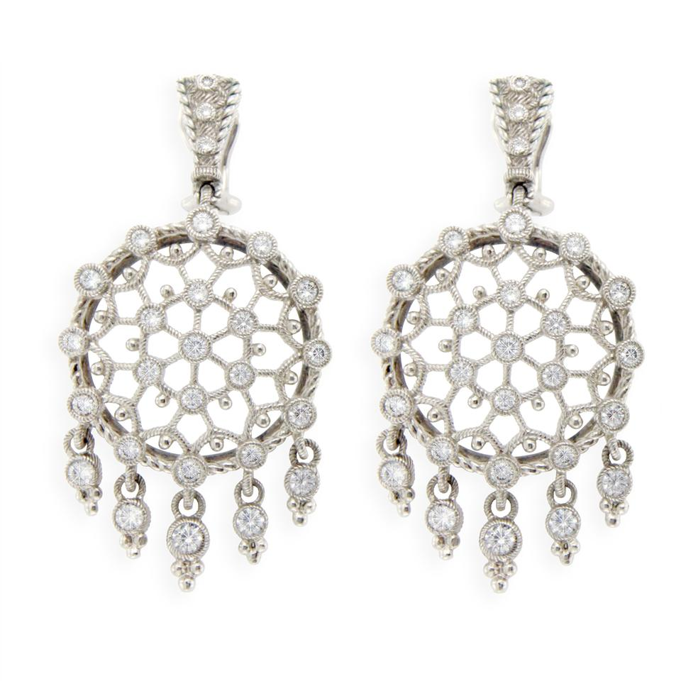Judith Ripka 925 Sterling Silver Large Round Diamonique Earrings