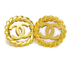 Chanel Chanel Gold Tone CC Jumbo Mirror Earrings Vintage