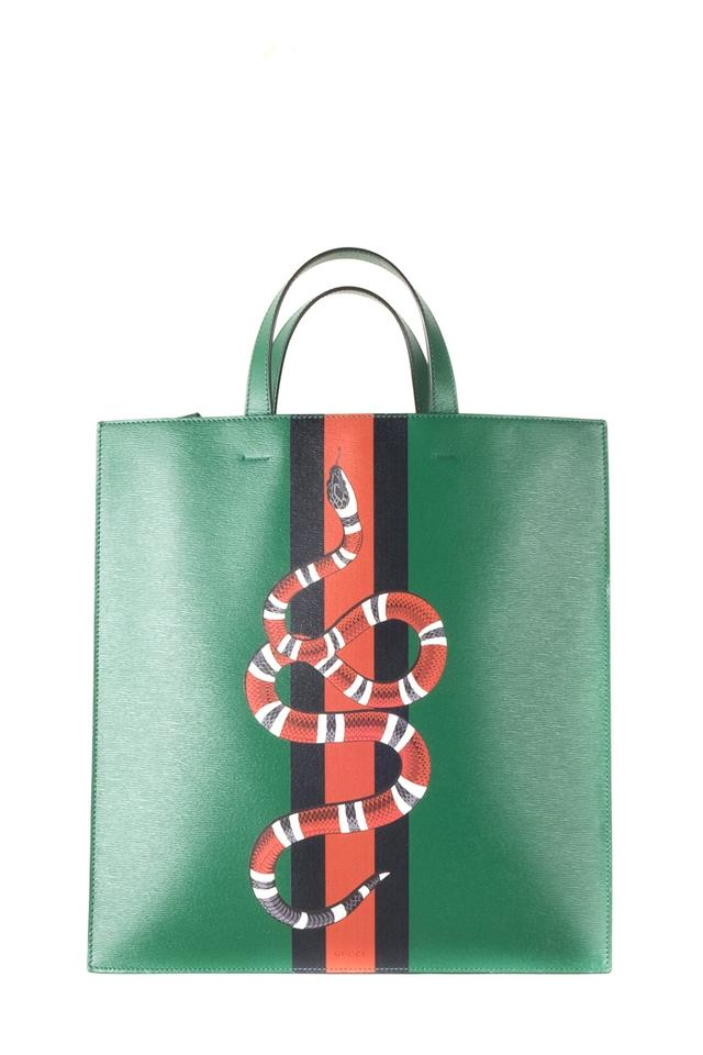 317ac9816bc1 Gucci Web and Kingsnake Green Leather Tote - Tradesy