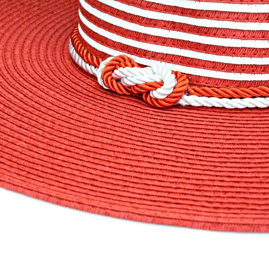 Other Nautical Stripe Rope Trim Red And White Straw Beach Cruise Summer Hat