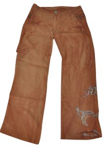 ShaDang Hand Painted Embroidered Boho Linen Relaxed Pants Brown-Rust