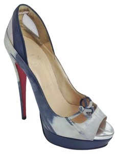 99a76c92256 Christian Louboutin Grey Maleva Mary Jane Peep Toe Heels Platforms Size EU  38.5 (Approx. US 8.5) Regular (M, B) 71% off retail