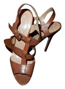 Guess Leather Platform Ankle Strap Tan Sandals