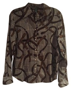 c4dadfae503b Lauren Ralph Lauren Equestrian Reins Button Down Long Sleeve Top Tan brown