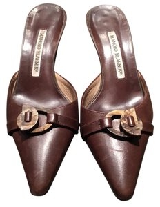 Manolo Blahnik Leather Brown Mules
