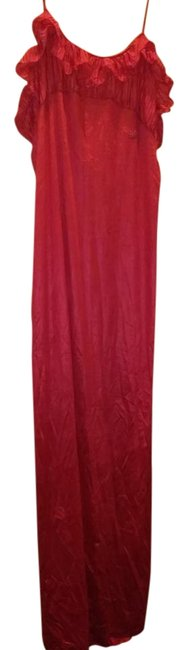 Item - Red Slip with Ruffles Long Night Out Dress Size 8 (M)