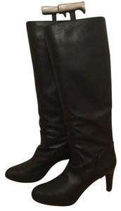 Sergio Rossi Luxury Soft Knee High Black Leather Boots