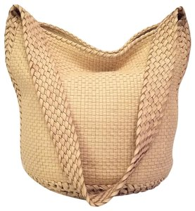 Bottega Veneta Leather Woven Intrecciato Braided Tote in Beige