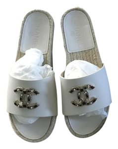 Chanel Espadrille Mules Flats White Sandals