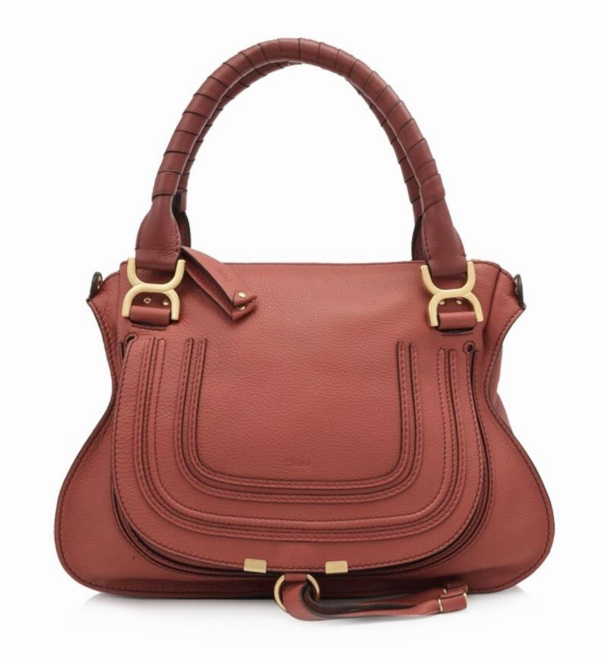 78f94ef964 Chloé Marcie Medium Terracotta Red Brown Calfskin Leather Tote - Tradesy