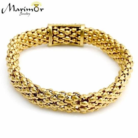 Marimor Gold Ion Plated Stainless Steel Mesh Wide Stretch Women's Crystal Bangle Bracelet