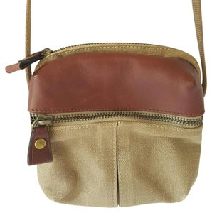 Liz Claiborne Leather Canvas Cross Body Bag