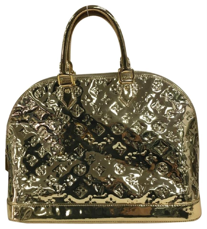 Louis vuitton alma handbag miroir pvc gm gold satchel on for Louis vuitton silver alma miroir