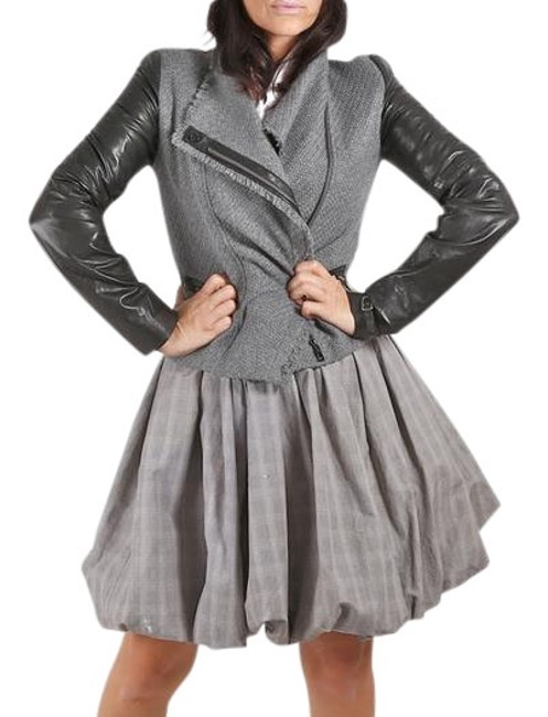 Item - Gray Wool Leather Jacket Size 6 (S)