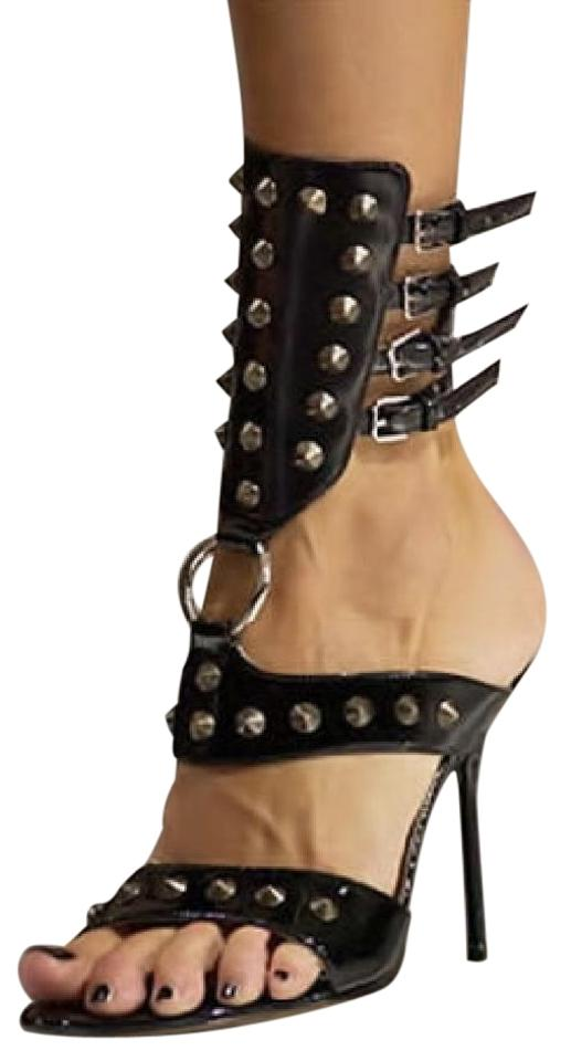 6497430ef24 Dolce and gabbana black runway leather studded sexy ring strappy stiletto  spiked heels sandals size jpg