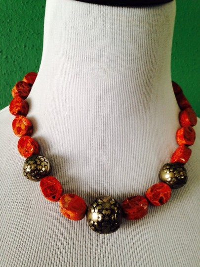 Other Embellished by Leecia Burnt Orange Coral (Oval) With Silver