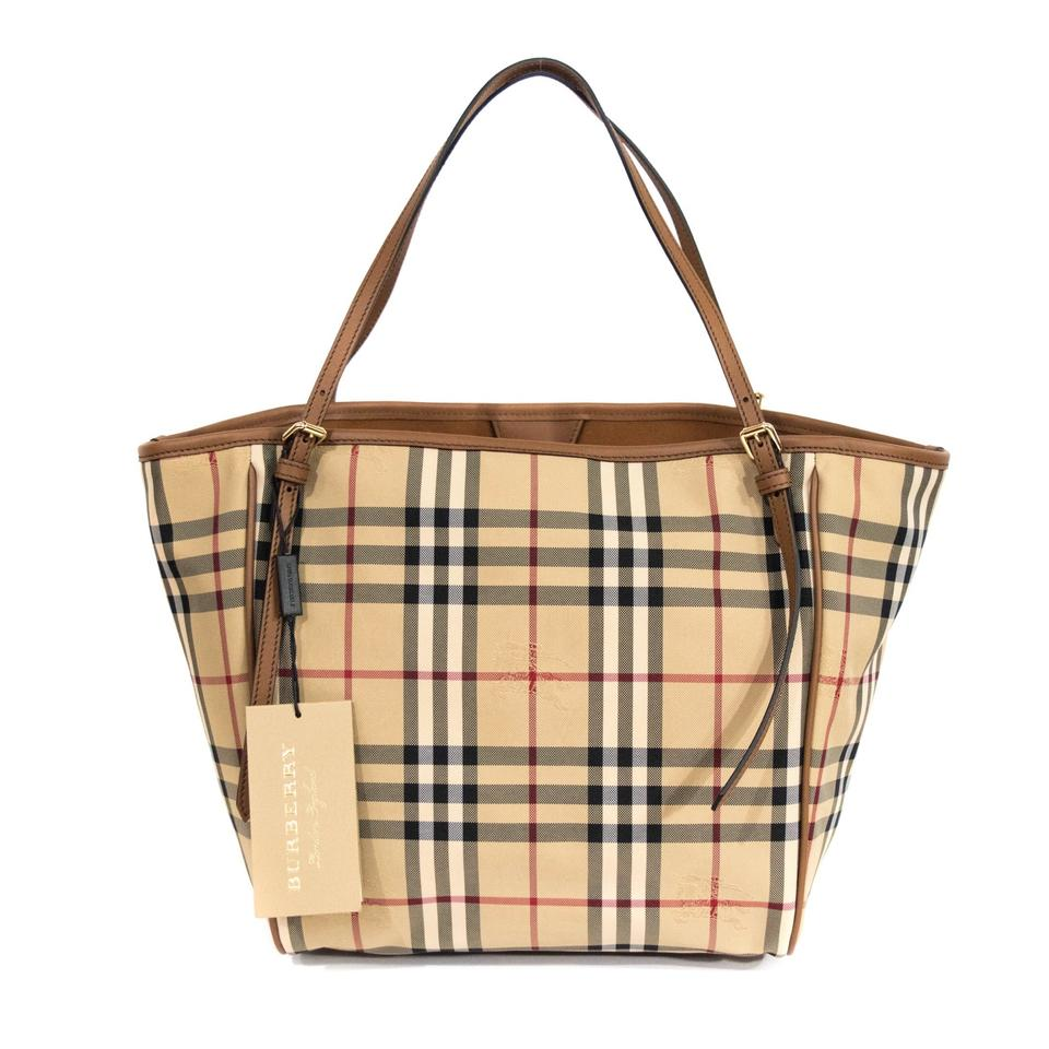 1f0db9947f Burberry London Small Canter' Horseferry Check & Leather Honey/Tan  Honey/Tan Tote