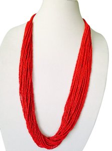 My Closet- Embellished by Leecia Embellished by Leecia NWOT Multi-Strand Red/Orange Seed Bead Woven Necklace