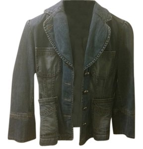Banana Republic Denim Blazer Fitted Blazer Blue Denim Womens Jean Jacket