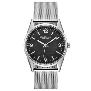 Kenneth Cole 10024820 Men's Silver Mesh Band With Black Analog Dial Watch