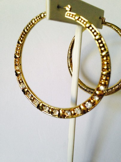 Betsey Johnson Betsey Johnson Large Heart & Crystal Design Hoop Earrings