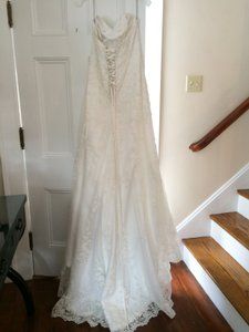 "Maggie Sottero Soft White Delicate Lace Overlay with Sparkle and Train "" E M M A "" - A-line Feminine Wedding Dress Size 12 (L)"