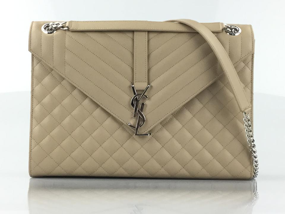 0c833ee674 Saint Laurent Large Envelope Chain Dark Beige Leather Shoulder Bag ...