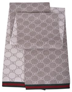 Gucci New Gucci 325806 Taupe Wool Reversible GG Guccissima Red Green Scarf