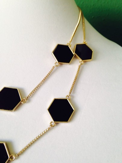 House of Harlow 1960 NWOT Black Enamel Octagon Design Double Strand In Gold-Tone Necklace