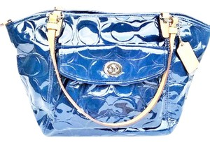 Coach Embossed Leah Patent Leather Shoulder Bag
