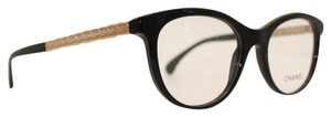 Chanel Square Round Polished Black Quilting Rose Gold Eyeglasses 3356-A c.501