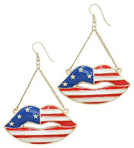 American Flag Patriotic Red White Blue Stars And Stripes Gold Drop Dangle Earrings