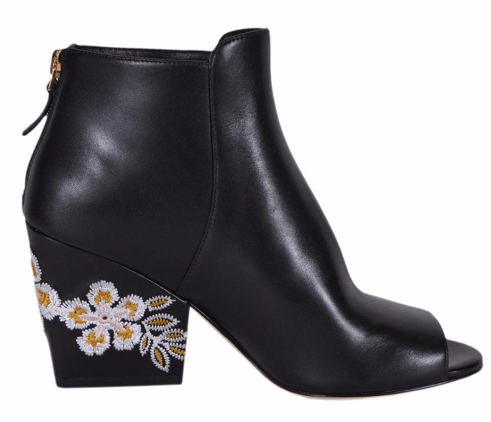 172b34a89153 Tory Burch Black Embroidered New Women s Leather Floral Wedge Boots ...