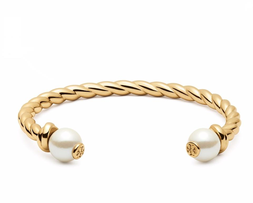 Tory Burch Brand New Rope Logo Bead Cuff Bracelet In Gold