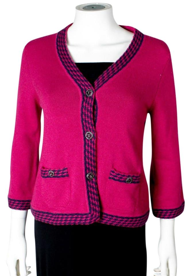 Chanel Pink Cashmere Sweater Cardigan Size 4 (S) - Tradesy