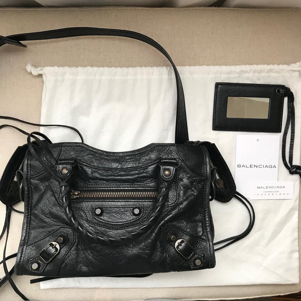 77acfc82b6c Balenciaga Arena Classic Mini City Black Lambskin Leather Cross Body ...